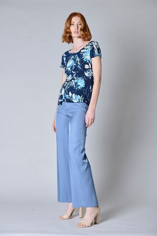 blue flowered blouse side drape Angelico