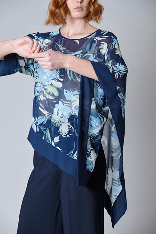 blue floral poncho one sleeve Angelico