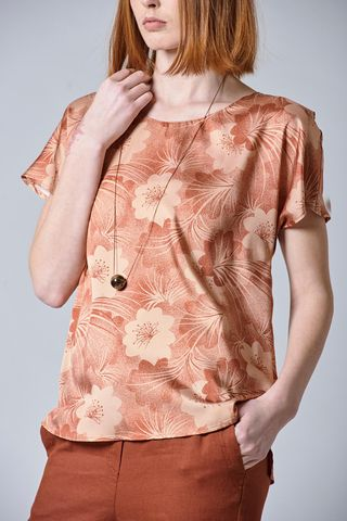 brick floral patterned blouse Angelico