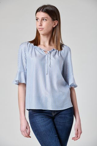 striped shirt with gathered boat neckline Angelico