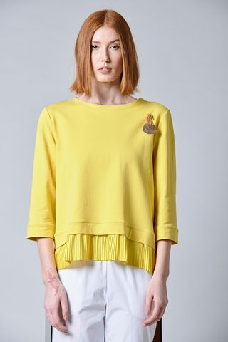 yellow sweatshirt with pleated bottom Angelico