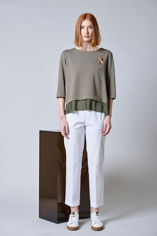 militar green sweatshirt bottom plated Angelico