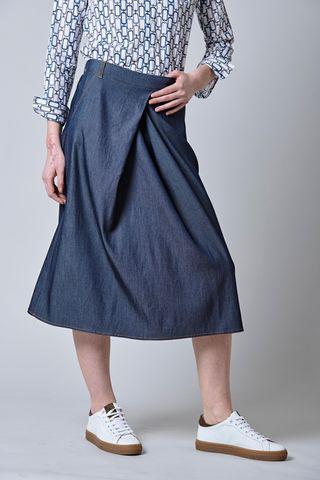 midi jeans skirt open pleat Angelico