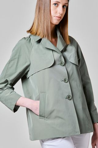sage green short raincoat Angelico