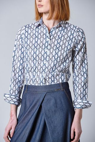white shirt with blue chains pattern Angelico