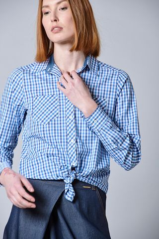 blue-light blue checked shirt Angelico