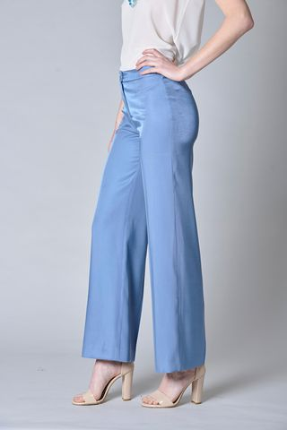 wide sugar blue trousers with elastic waist Angelico