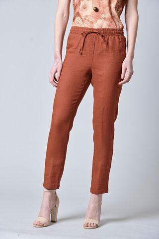 Pantalone coccio lino risvolto vita elastica Angelico