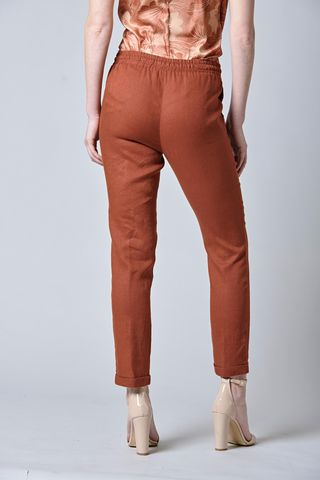brick linen trousers with turn-up Angelico