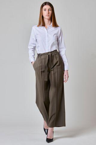 Pantalone oliva ampio con fusciacca Angelico