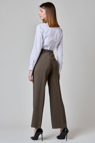 wide olive trousers with sash Angelico