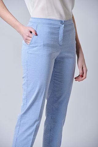 pantalone blu rigato seersucker sigaretta Angelico