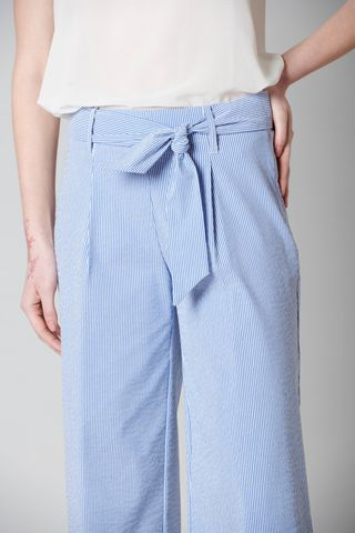 blue cropped striped seersucker trousers Angelico