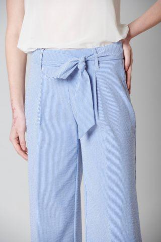 pantalone blu cropped rigato seersucker Angelico