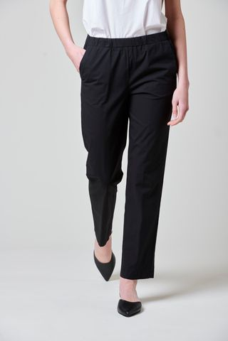 Pantalone nero popeline vita elastica Angelico