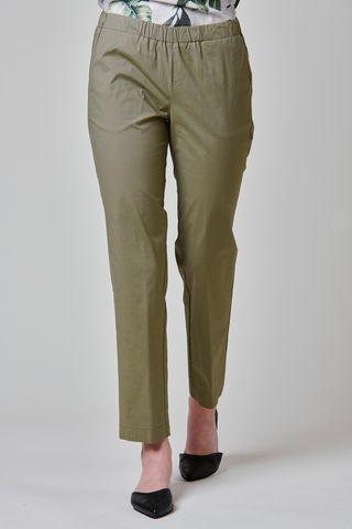 Pantalone oliva popeline vita elastica Angelico