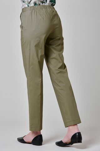 olive green satin trousers elastic waist Angelico