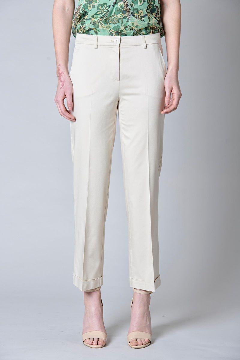 pantalone beige con risvolto elegante Angelico