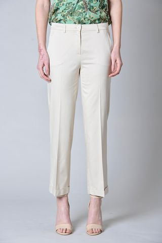 beige trousers with turn-up Angelico