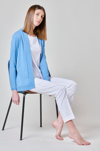shawl open light blue cardigan Angelico