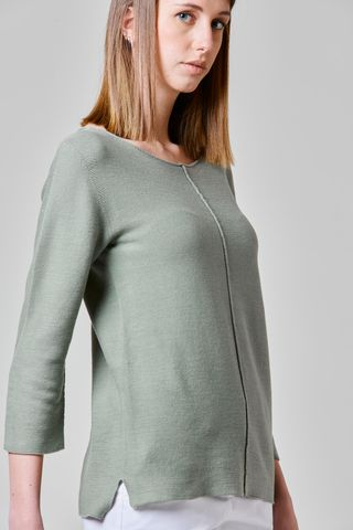 sage green cotton sweater central seam Angelico