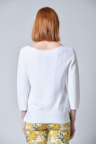 maglia bianca cucitura centrale scollo ampio Angelico