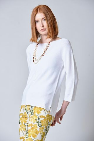 white cotton sweater central seam Angelico