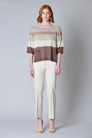 striped beige-tobacco wide lurex pullover Angelico
