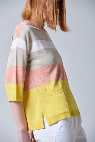 striped pink-yellow wide lurex pullover Angelico