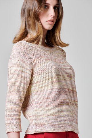 maglia beige girocollo cotone multi-color Angelico