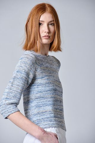 light blue cotton sweater multi-color Angelico