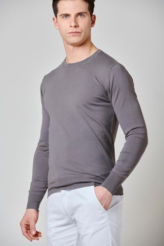 maglia tortora cotone-seta-cashmere Angelico