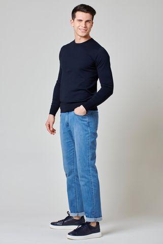 Maglia blu cotone-seta-cashmere Angelico