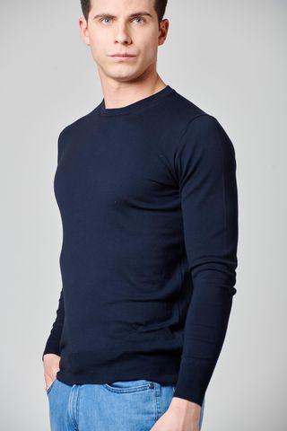 blue gray cotton-silk-cashmere pullover Angelico