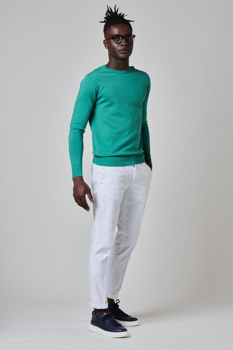 maglia verde cotone-seta-cashmere Angelico
