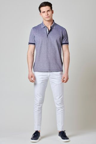 blue oxford mercerized polo shirt Angelico