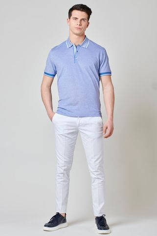 azure oxford mercerized polo shirt. Angelico
