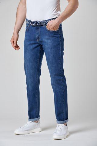 jeans blu 5 tasche impunture beige Angelico