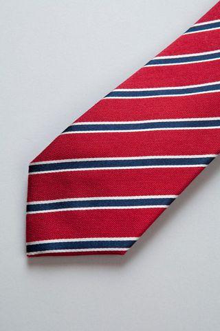 red-blue regimental silk-cotton tie Angelico