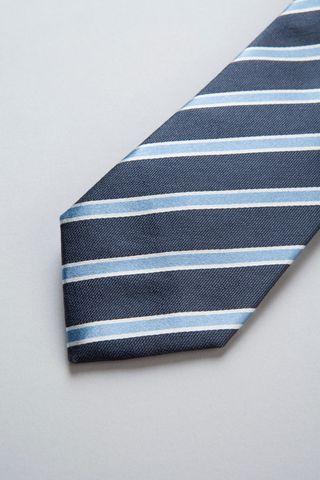 blue-azure regimental silk-cotton tie Angelico