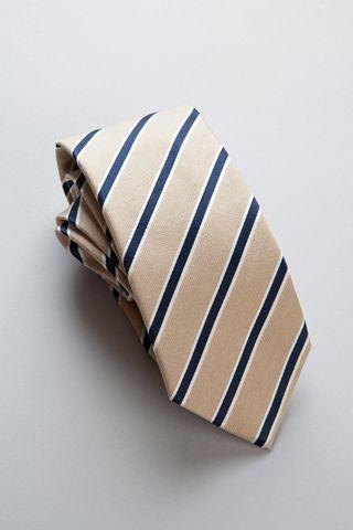 beige-blue regimental silk-cotton tie Angelico