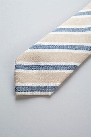 beige tie wide blue stripes silk-cotton Angelico