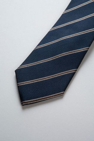 navy tie with fine brown stripes silk-cotton Angelico