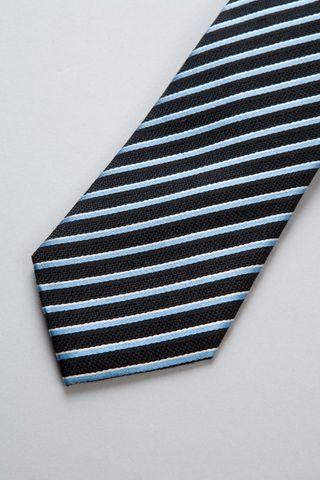 navy tie azure-silver stripes silk-cotton Angelico