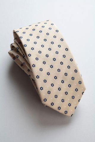 cravatta beige fiori blu seta-cotone Angelico
