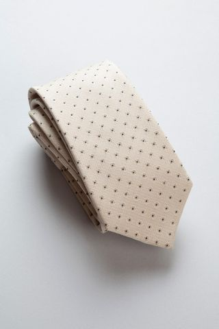 cream tie with black polka-dots Angelico