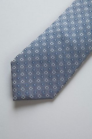 blue jeans tie with blue-pearl flowers Angelico