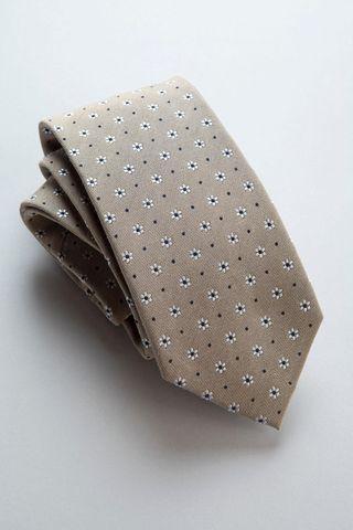 cravatta mastice fiori bianchi seta-cotone Angelico
