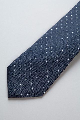 Cravatta blu pois argento seta-cotone Angelico