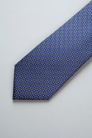 cravatta indaco fiori blu scuro seta Angelico